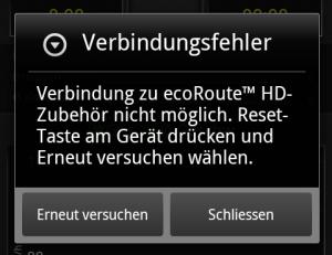 Screenshot aus Garmin Mechanic beim Scheitern der Verbindung mit dem ecoRoute HD
