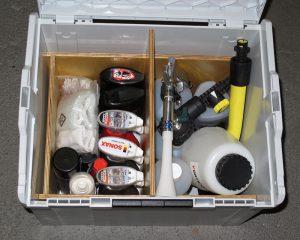 Fertig eingeräumte Autopflege-L-Boxx (unterer Teil)