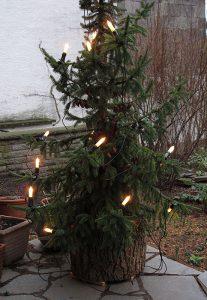 Outdoor-Christbaumständer mit eingesetztem Weihnachtsbaum