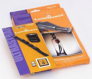 LumiQuest Snoot XTR und Ultrastrap verpackt