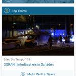 """Screenshot """"GORAN hinterlässt erste Schäden"""" aus der App von wetteronline.de"""